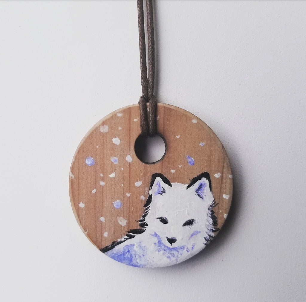 Arctic Fox on Cedar Pendant
