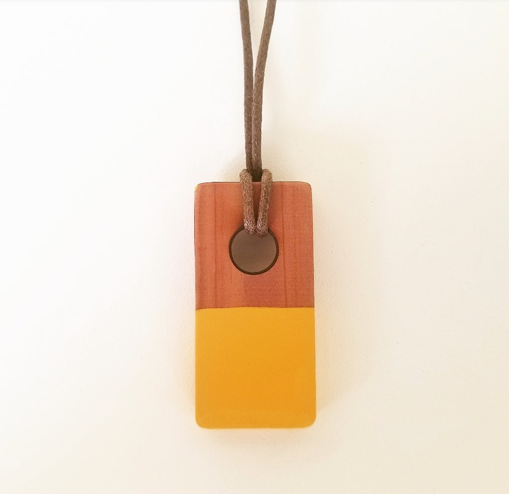 Gold Cedar Pendant Necklace - Brown Cord