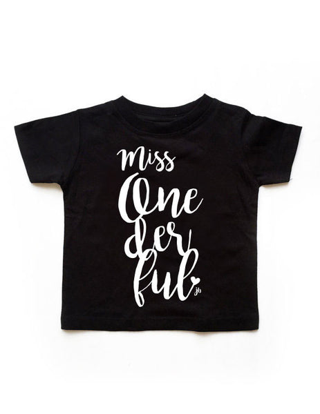Miss. Onederful Birthday Black Shirt