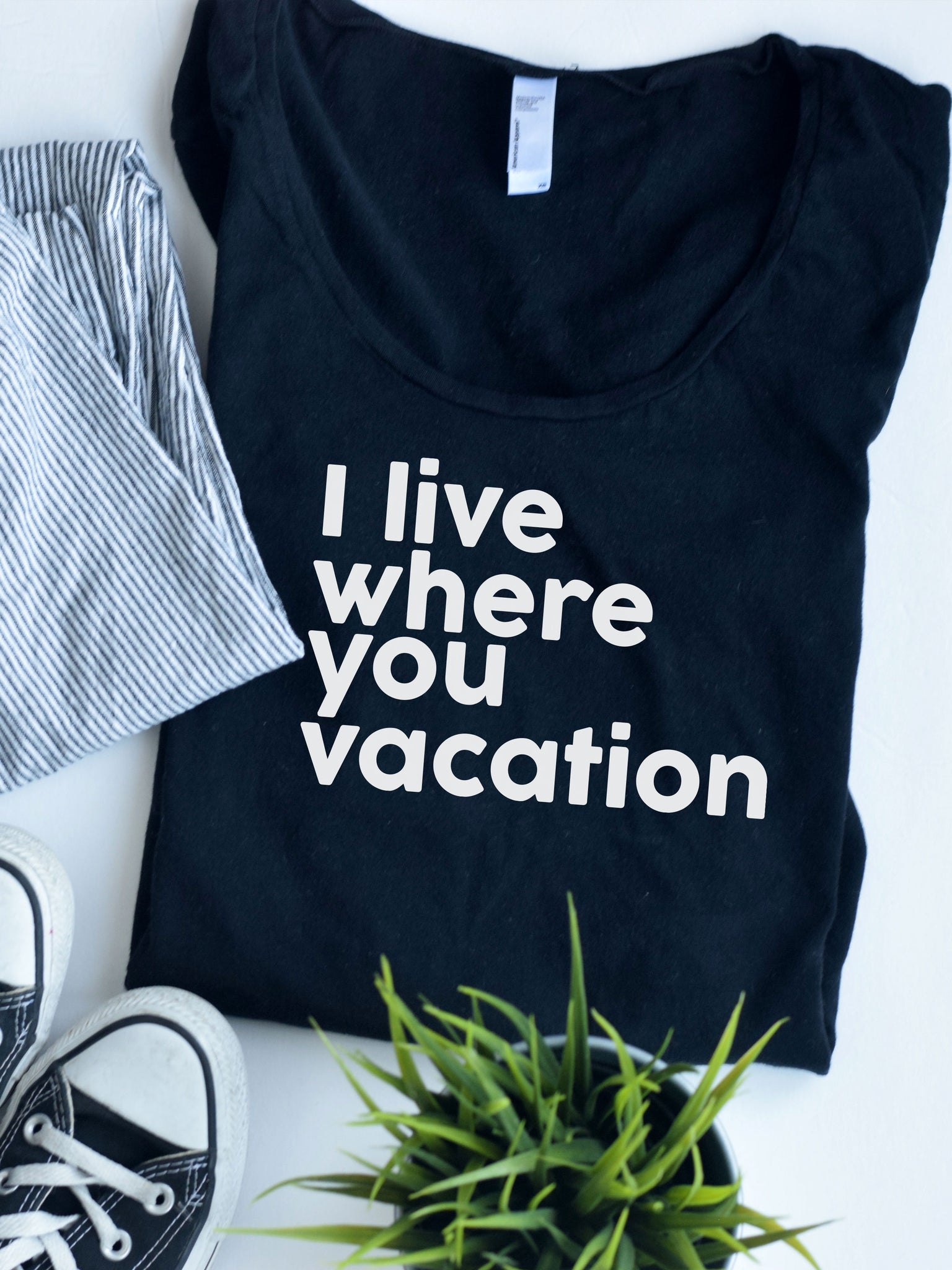 I live where you Vacation Black Shirt