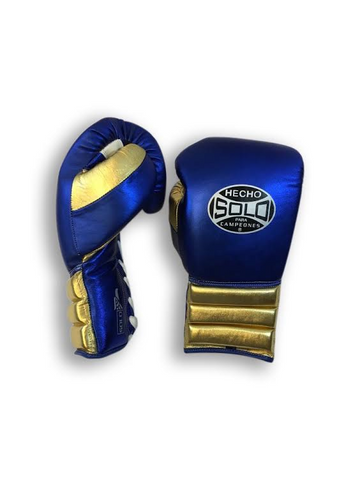16oz Metallic Blue and Gold Pro Sparring Gloves