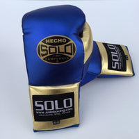 Blue and Gold Metallic Pro Fight Gloves