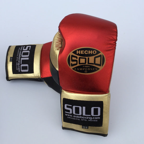 Red & Gold Metallic Pro Fight Gloves