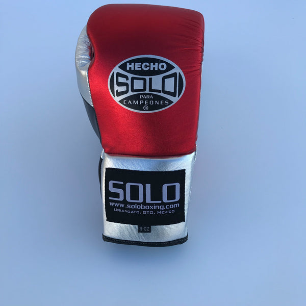 Red and Silver Metallic Pro Fight Gloves