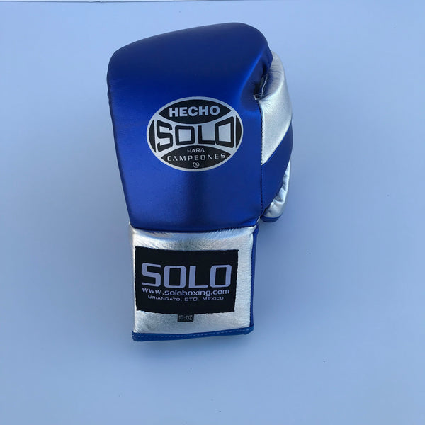 Metallic Blue and Silver Pro Fight Gloves