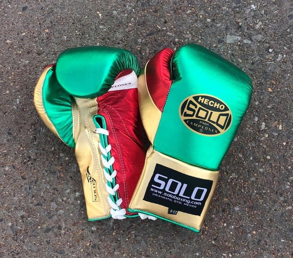 Metallic Mexico Gold Pro Fight Gloves