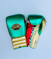 Gold Mexico Metallic Pro Sparring Gloves
