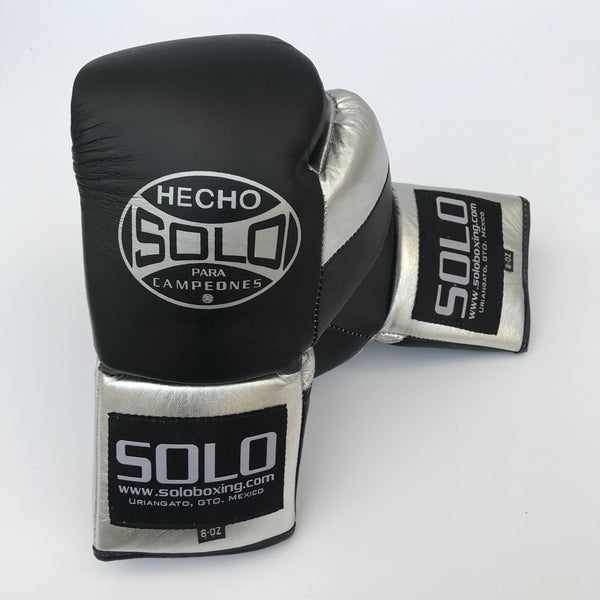 Black & Silver Pro Fight Gloves