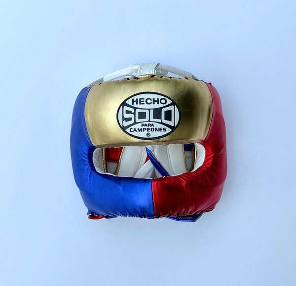 Metallic Gold/Red/Blue Full Face Head Guard