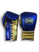 Metallic Blue and Gold Pro Sparring Gloves