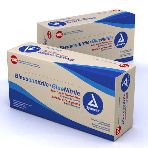 Safe-Touch Blue Nitrile Exam Gloves - Powder Free