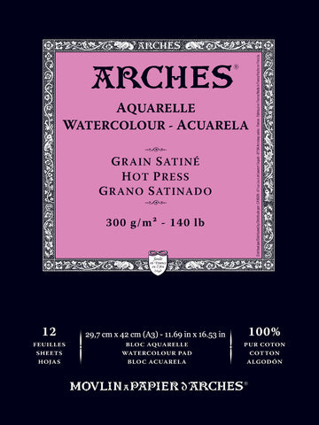 "Arches Watercolour Pad Hot Press 11.69"" x 16.53"" (A3) 12 Sheets"