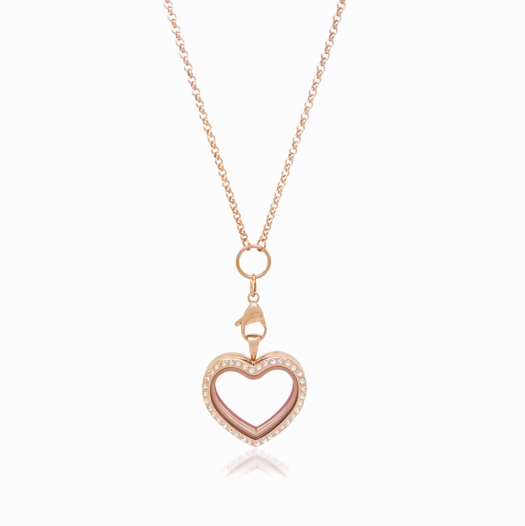 Rose Heart Crystal Locket Necklace