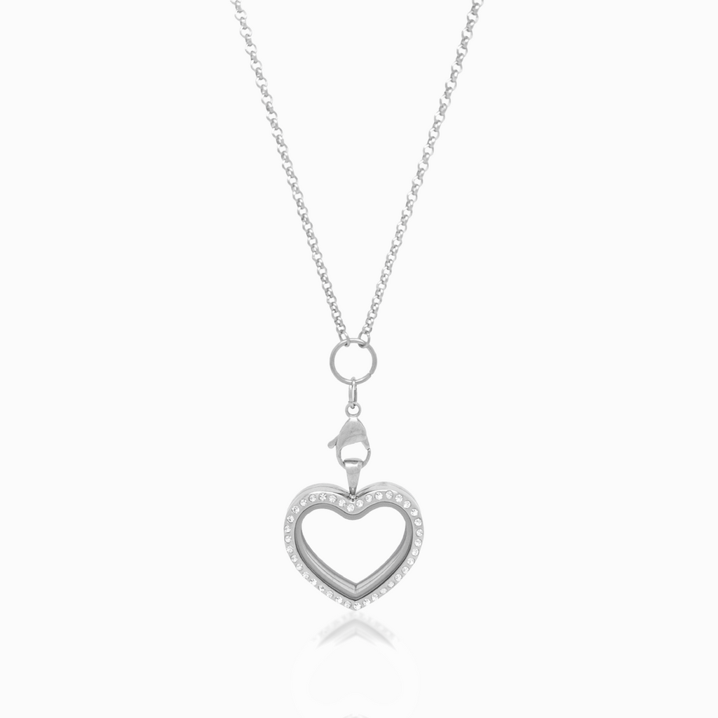 Silver Heart Crystal Locket Necklace