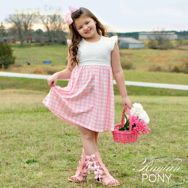 Claire Dress - Gingham & Lace - The Raglan Pony