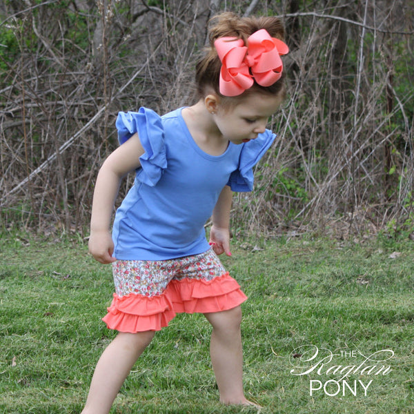 Ruffle Shorts Coral Floral - The Raglan Pony