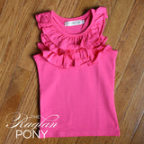 Ella Ruffle Tank - Hot Pink - The Raglan Pony