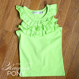 Ella Ruffle Tank - Lime - The Raglan Pony