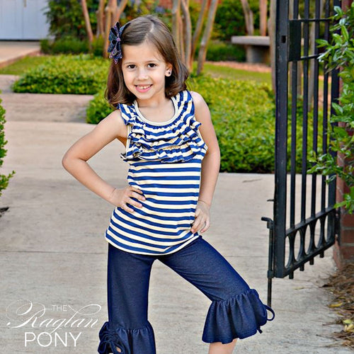 Ella Ruffle Tank - Sailor Stripe - The Raglan Pony