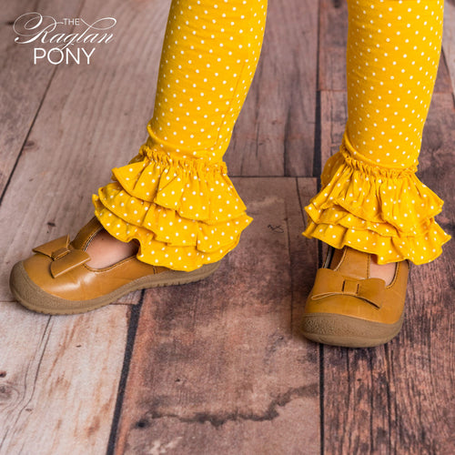 Flynn Leggings Mustard Polka Dot - The Raglan Pony