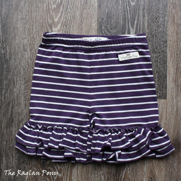 Ruffle Shorts Deep Purple Stripe - The Raglan Pony