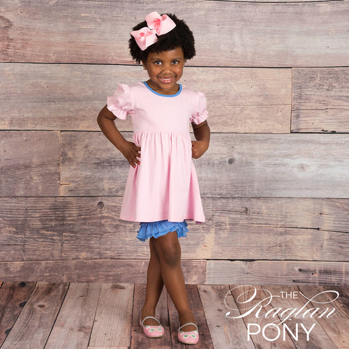 Ava Top - Pink Polka Dot - The Raglan Pony