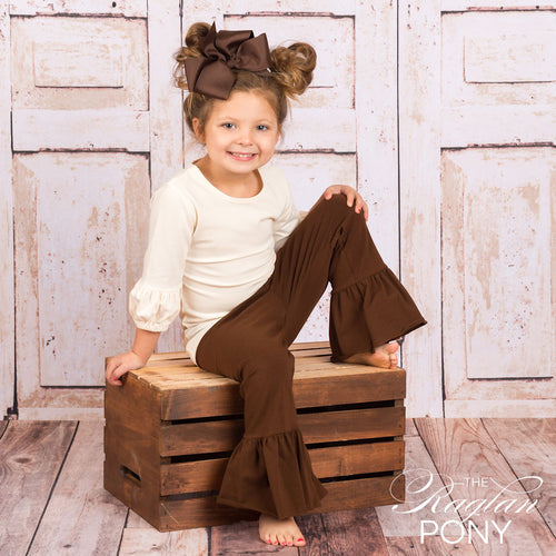 Avery Ruffle Chocolate - The Raglan Pony