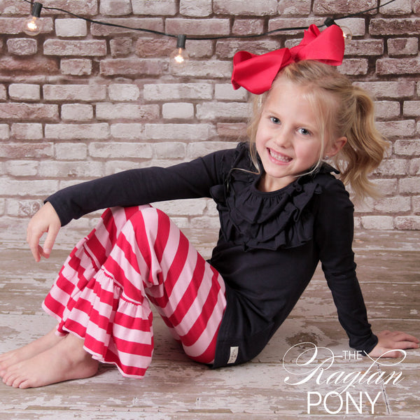 Avery Ruffle Red/Pk Stripe - The Raglan Pony