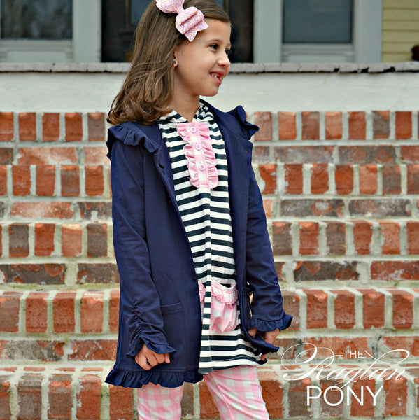 Harper Hooded Cardigan - Navy - The Raglan Pony