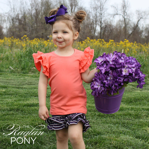 Flutter Top Coral - The Raglan Pony