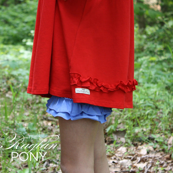 Ruffle Shorts Cornflower - The Raglan Pony