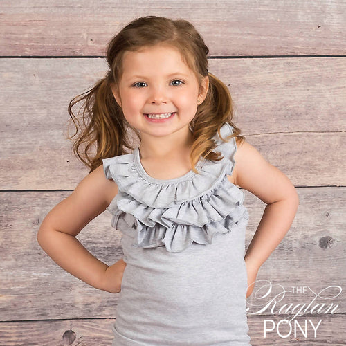 Ella Ruffle Tank - T-Shirt Grey - The Raglan Pony