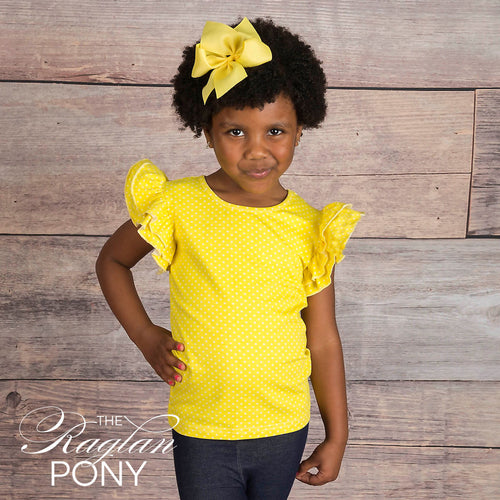 Flutter Top Sunny Dot Ywl - The Raglan Pony