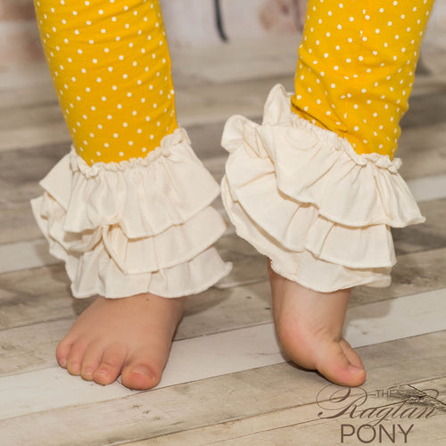 Flynn Leggings Mustard Dot/Cream Ruffles - The Raglan Pony