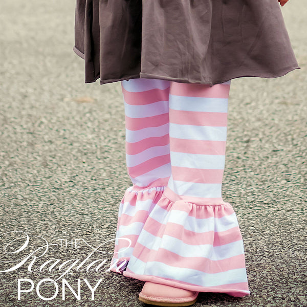 Avery Ruffle Bubblegum Stripe - The Raglan Pony