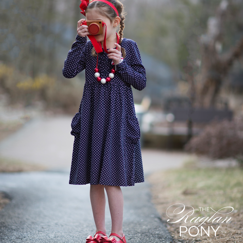 Lola - Navy Dot Pocket Dress - The Raglan Pony