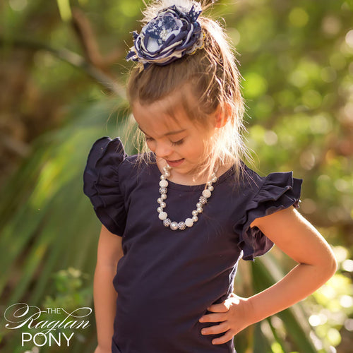 Flutter Top Navy - The Raglan Pony