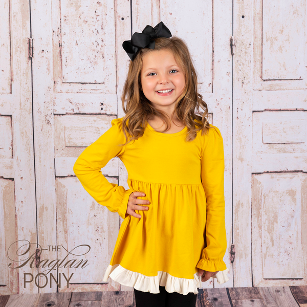 Riley Top - Mustard w/Buttercream ruffle