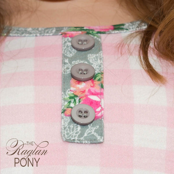 Riley Top- Gingham Floral - The Raglan Pony