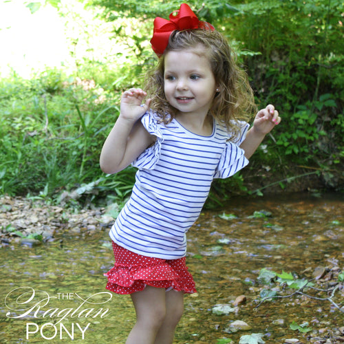 Flutter Top Royal Stripe - The Raglan Pony