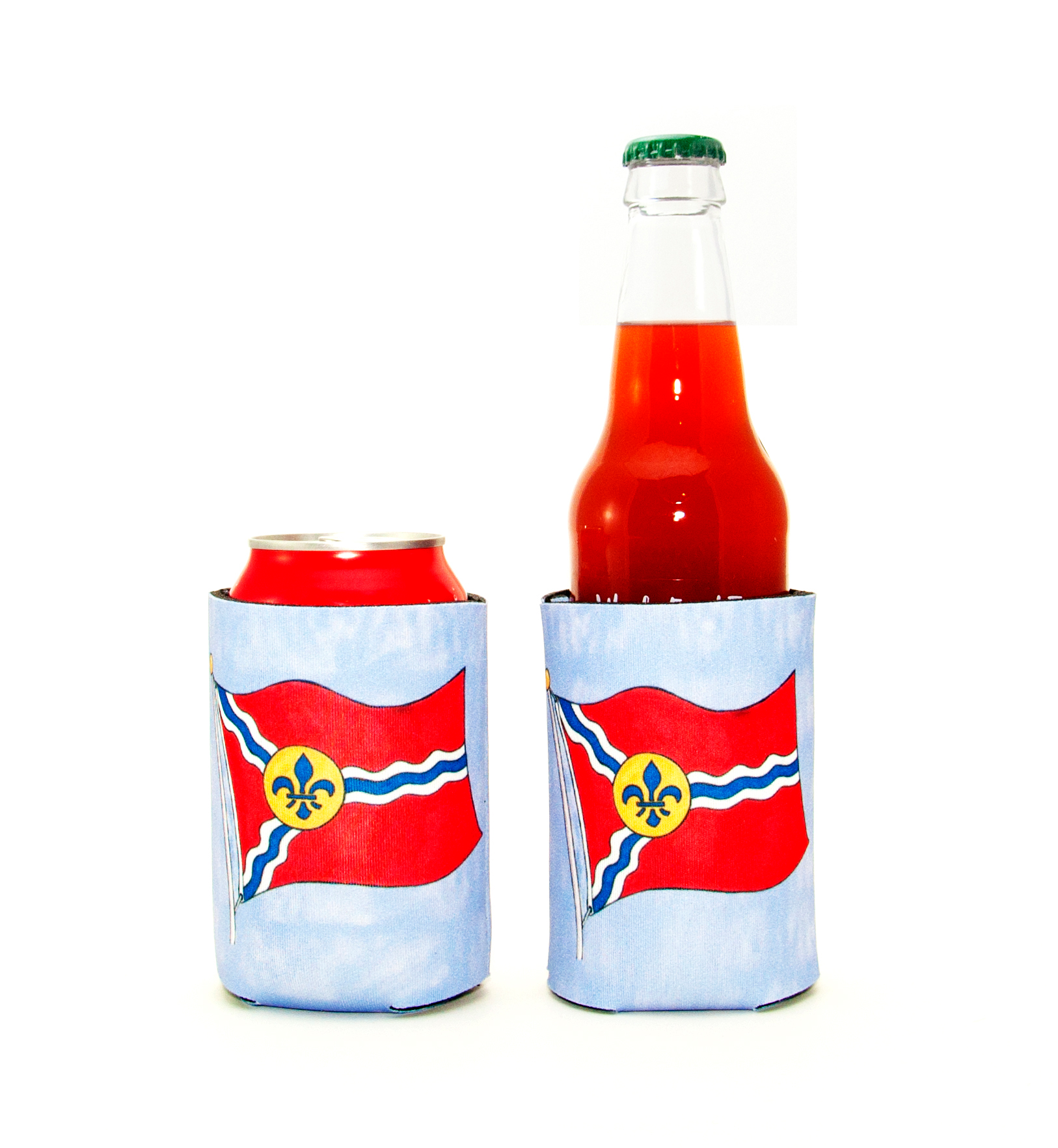 Koozies<br>St. Louis Flag Scene<br><br>Available Online and<br>at Retailers