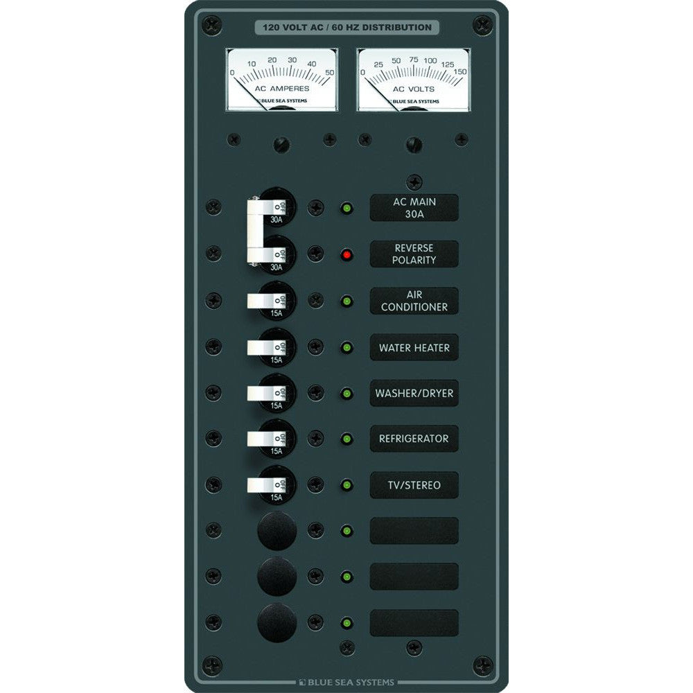Blue Sea 8074 AC Main +8 Positions Toggle Circuit Breaker Panel  (White Switches)