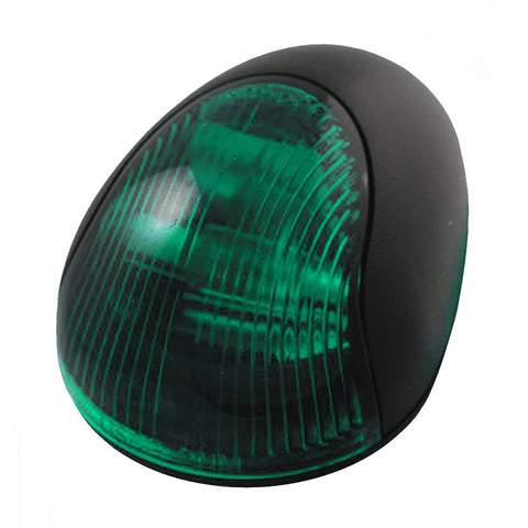 Attwood 2-Mile Vertical Mount, Green Sidelight - 12V - Black Plastic Housing