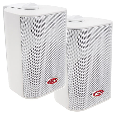 "Boss Audio MR4.3W 4"" 3-Way Marine Enclosed System Box Speakers - 200W - White"