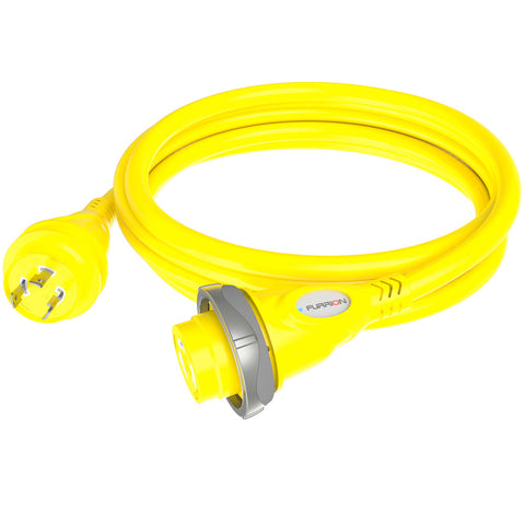 Furrion 30A 125V Marine Cordset 12ft Yellow w/LED