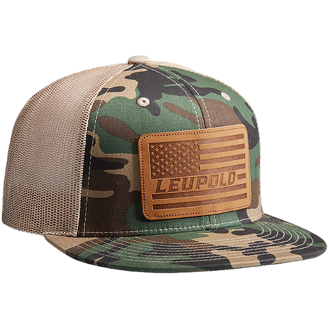 #511 Leather Flag Flat Bill Trucker Camo / Khaki OS