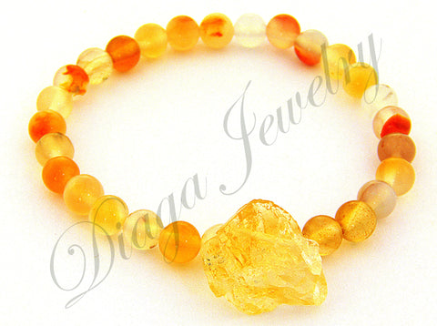 Orange Agate and Citrine Charm Bracelet
