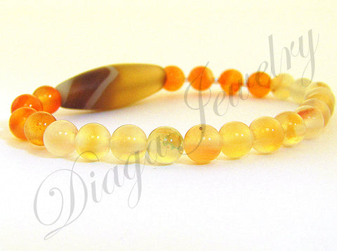 Orange and Coffee Colour Agate Bracelet