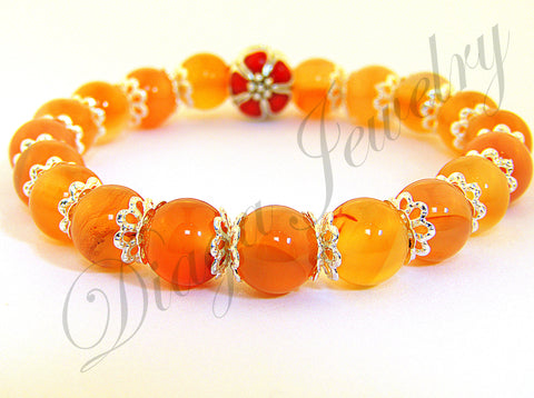 Orange Agate and Red Flower Charm Bracelet