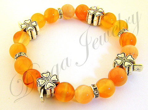 Orange Agate and Four Leaf Clover Charms Bracelet